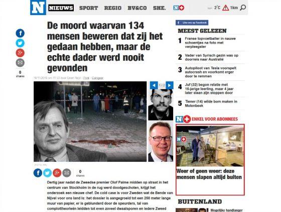 Moord Olof Palme in Het Nieuwsblad